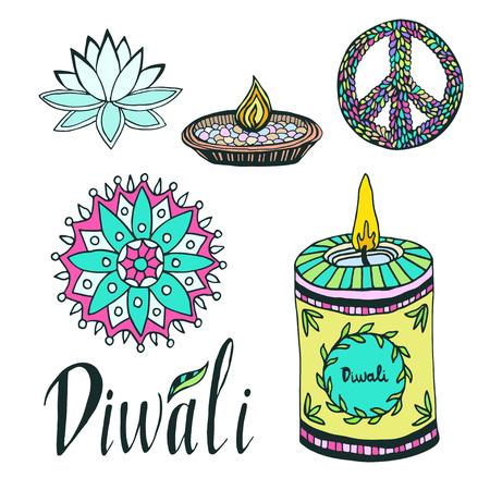 rangoli: Diwali colorful signs collection. Lotus, rangoli, diya and peace hand drawn symbols Illustration