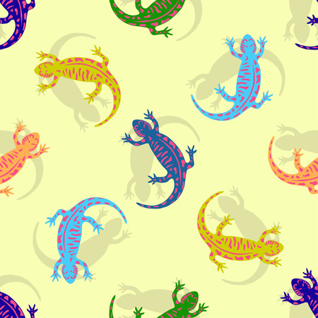 gaudy: Hand drawn colorful salamander seamless pattern. Vector for kids textile