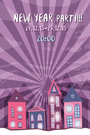 Vector New year retro party flyer with cute street night. Purple holiday background