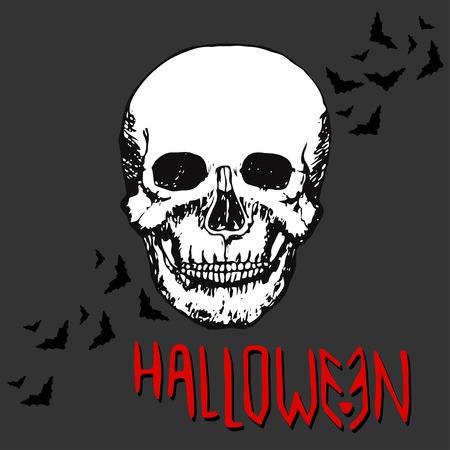 all souls' day: Halloween night concept poster. Skull Vector print Illustration