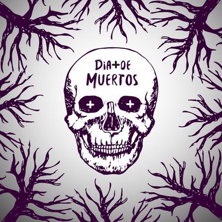 fondo para tarjetas: D�a de Muertos - Fondo mexicano. Dia de los Muertos. Cr�neo de terror vectorial Vectores