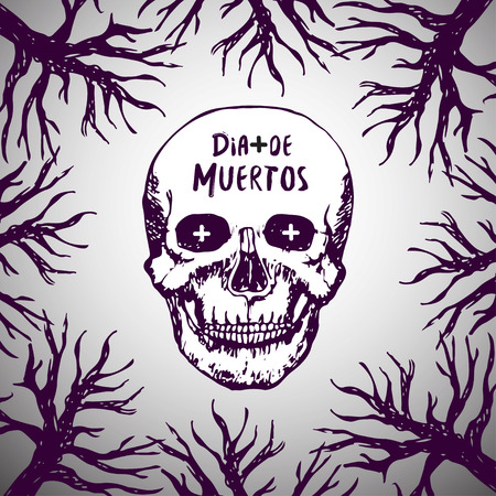 postcard background: Dia de muertos - mexican background. Day of the dead. Skull horror Vector