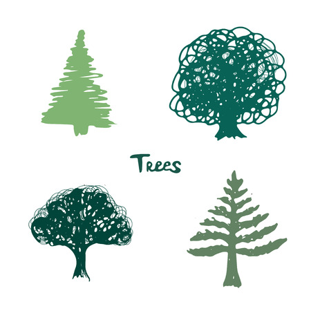 Trees green silhouette. Vector inked hand drawn isolated collection