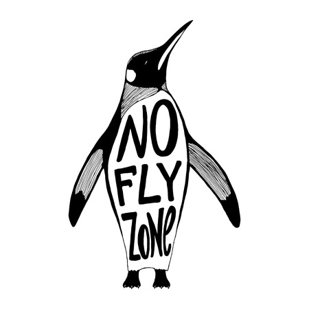 fly: No fly zone Penguin vector illustration.
