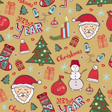 whimsical pattern: Christmas vintage pattern. New year whimsical seamless background for wrapping or textile decoration Illustration