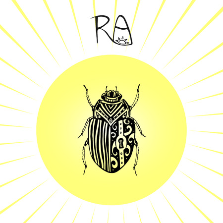 Scarab Beetle tattoo art. Can be used for t-shirt, postcard, poster. Illustration