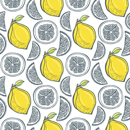 zest: Cute yellow lemons pattern. Vector handdrawn seamless background with citrus slice