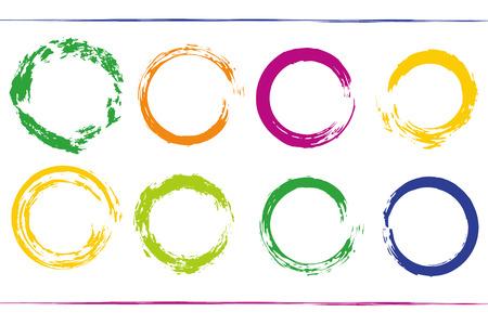 rainbow circle: Colorful bundle with rainbow circle frames. Grunge vector design element