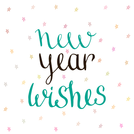 ink well: New Year Wishes - handwritten vector. Illustration