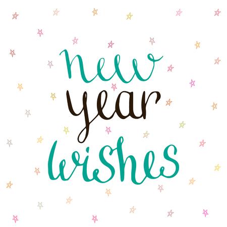 wishing card: New Year Wishes - handwritten vector. Illustration