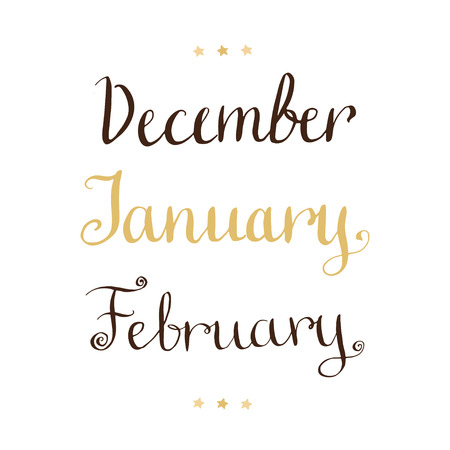 months: Handwritten winter months - December January February Vector lettering Illustration