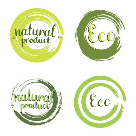 nature abstract: Eco vector set with circle frames, design elements. Label with handwritten Natural product