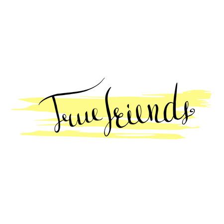 true: Handwritten lettering True friends icon