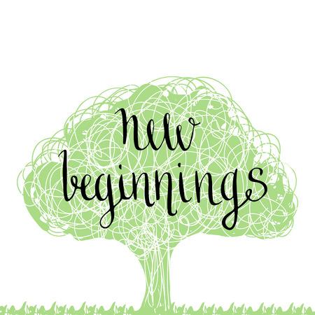 Handwritten phrase - new beginning. Hand drawn lettering design. Eco tree silhouette.