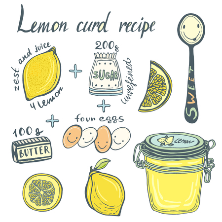 conserved: Homemade Lemon Curd recipe book page. illustrated ingredients and jar.