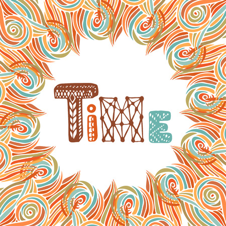 time frame: Abstract autumn frame. Time doodle lettering. Orange decoration.