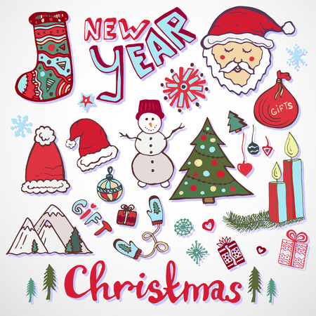 snowman: Christmas doodle collection. New year colorful sketches set. Cute santa claus, tree, gift, mittens, candle, snowman, socks and other signs