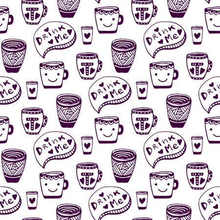 drink me: Tea and coffee pattern. Doodle cups seamless background. Drink me.