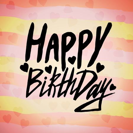 Happy Birthday Card With Inked Handwritten Phrase Creative Design