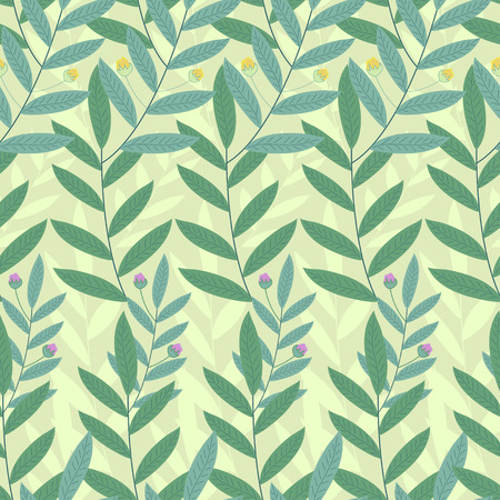 thickets: Floral seamless pattern. Background of green leaves and flowers.