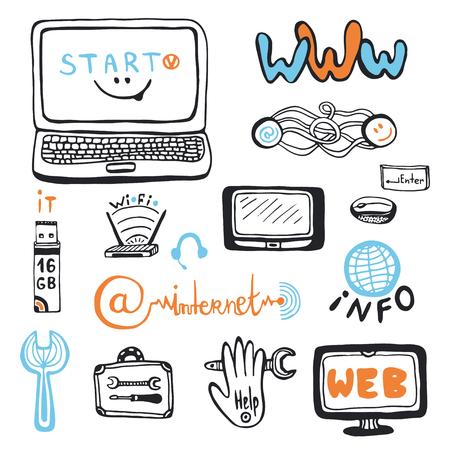 computer repair: Computer service doodles set. computer repair center icons.