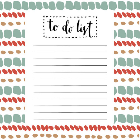 Handwriting To Do List. Vector cute blank with lettering.
