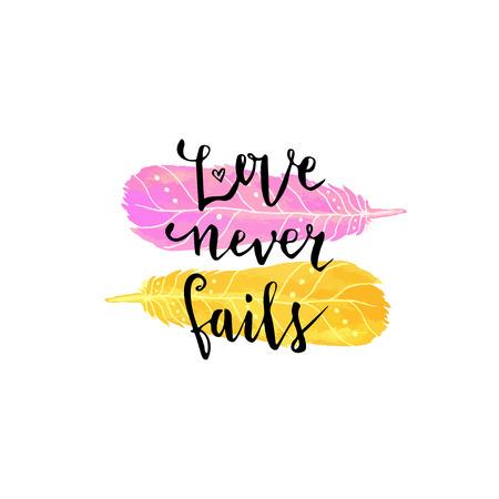 バレンタインの日カード。ピンクと黄色の色のかわいい水彩羽のレタリング。愛は決して滅びない。