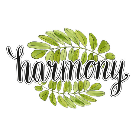retreat: Harmony handwriting lettering with watercolor leaves background . Eco banner or icon. Calligraphic poster. Illustration