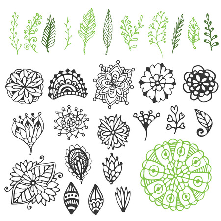 border silhouette: Zentangle nature collection. Hand drawn vector illustration with creative doodle flowers nd branches. for coloring page and design decoration.