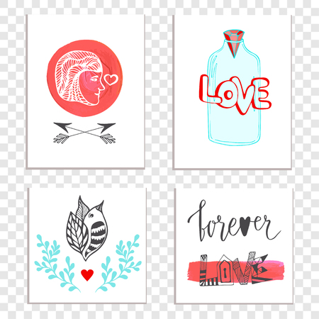 cute love: Beautiful Valentines day cards with hand drawn lettering. cute set with jar, man and bird illustration. Perfect for love day, birthday, save the date and poster. Illustration