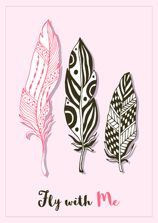 postcard back: Stylized feathers love card template. Cute zentangle design for greeting postcard. Vector art.