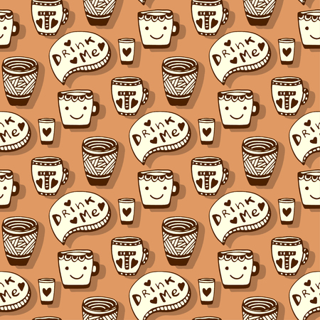 drink me: Tea and coffee pattern. Doodle smiley cups on brown seamless background. Vector Illustration