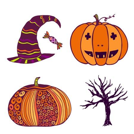 dead tree: Creative halloween elements. Pumpkin, witch hat, dead tree. Vector art