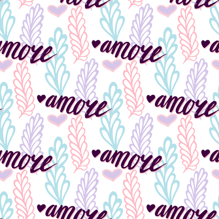 amore: seamless pattern with lettering italian word Amore - Love. Valentines day background. Romantic floral illustration for print, web. Illustration