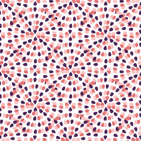 フリーハンドの創造的な飾りと創造的なシームレス パターン。ピンクのドットは、背景を抽象化します。繊維テンプレートまたは包装紙。