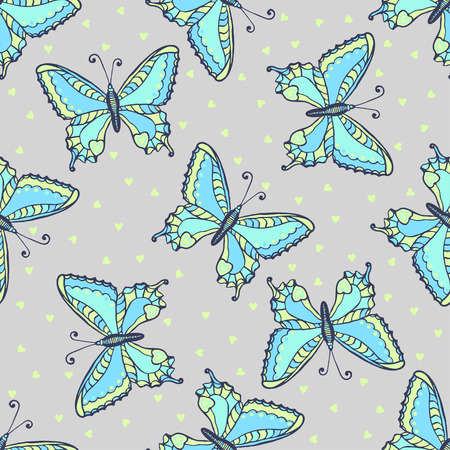 Blue butterflies seamless pattern on fashion grey color. Hand drawn butterfly vector illustration for fabric, wrapping or packaging and other beauty design
