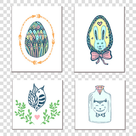 Happy easter cards with hand drawn eggs and cute elements. Vector holiday decoration Illustration