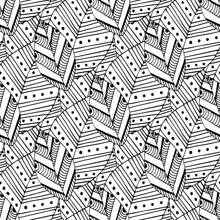 swatch: Doodle seamless pattern with ethnic leaves. Creative spring textile swatch or packaging design. Zentangle coloring page.