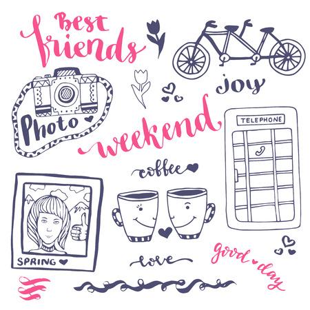 cabina telefonica: Fin de semana de bosquejo de la serie rom�ntica de la mano con elementos de la cabina de tel�fono, tarjeta de la foto y de la bicicleta dibujada. Para tarjeta de felicitaci�n y la decoraci�n - ilustraci�n vectorial