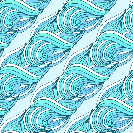 color swatch book: Doodle wavy repeating pattern. Blue waves vector tropical background. For textile or packaging design