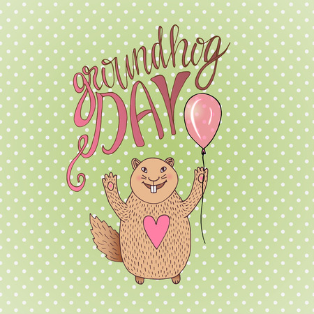 Groundhog Day gift card. Hand drawn beautiful smiling hamster. Vector illustration. Can be used for print, greeting cards or blog icon. Illustration