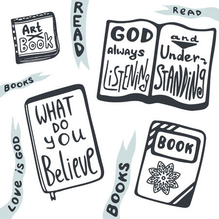 handlettering: Sketches of books set. Vector collection with handlettering relogion phrases. What do you believe