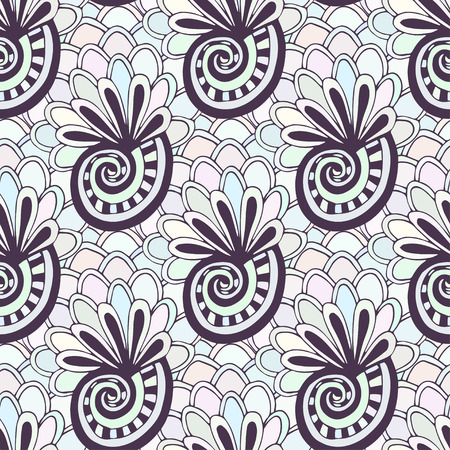swatch book: Doodling seamless pattern with seashells. Zentangle coloring page. Creative background for textile or coloring book in pastel colors