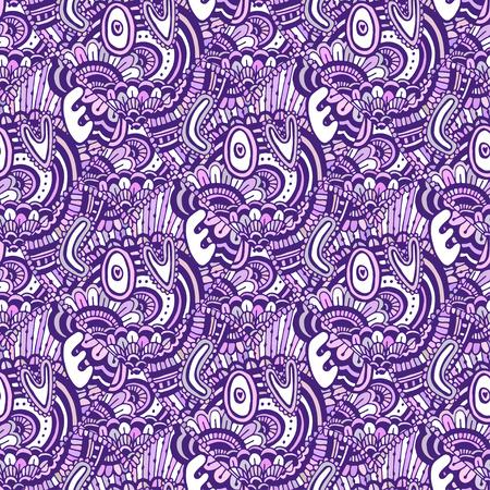 本文愛 Zentangle パターン。バレンタインデー紫背景。本ページを着色のシームレスなパターン ベクトル