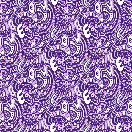 Zentangle pattern with text Love. Valentines day purple backdrop. Vector seamless pattern for coloring book page Çizim