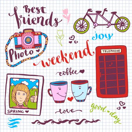 cabina telefono: pegatinas fin de semana romántico conjunto de elementos dibujados a mano con cabina de teléfono, tarjeta de la foto y la bicicleta tándem. Para tarjeta de felicitación y la decoración - ilustración vectorial