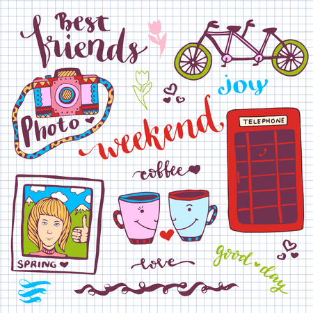 photo card: Weekend stickers romantic set of hand drawn elements with phone booth, photo card and tandem bike. For greeting card and decoration - vector illustration
