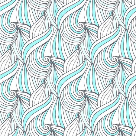 color swatch book: Abstract blue waves vector seamless pattern. Doodle repeating background. For textile or packaging design
