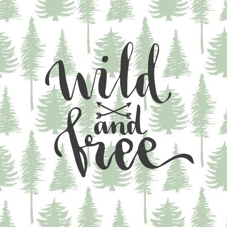 野生と -木のシームレスな背景のレタリング。手描きベクター デザイン  イラスト・ベクター素材
