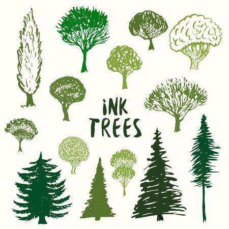 Les arbres verts silhouette vector collection. Main dessiné des croquis d'ensemble isolé